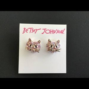 Betsey Johnson Pink Crystal Cat Earrings